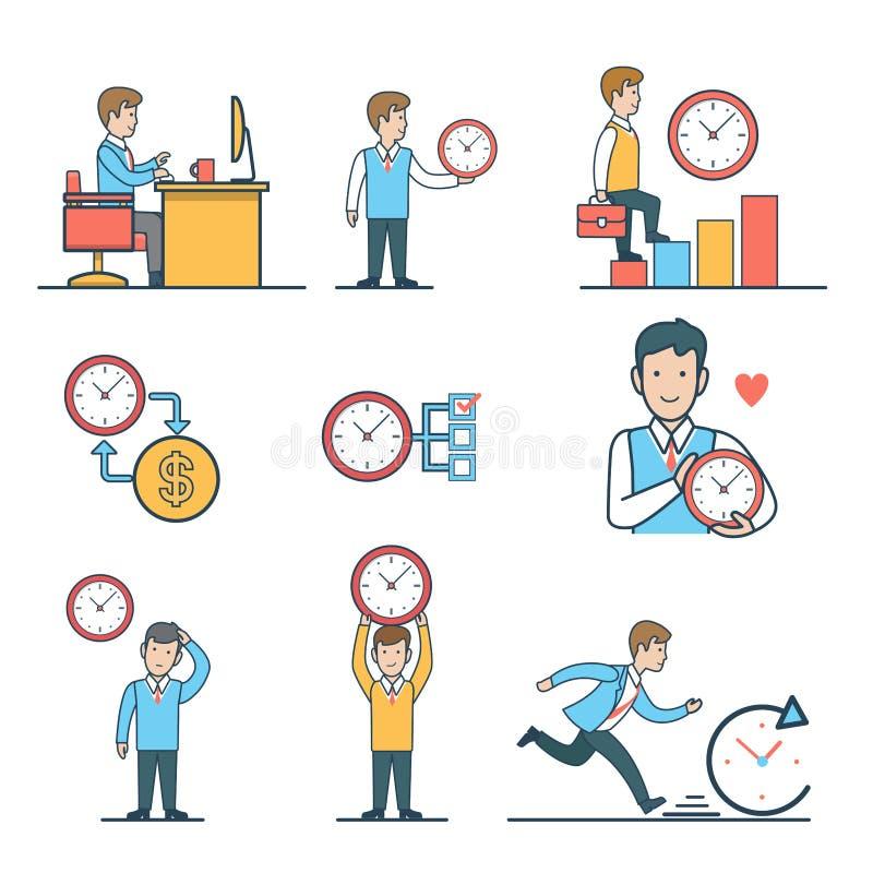 Concep plat linéaire de site Web de vecteur de gestion du temps illustration stock