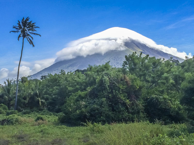 Concepcion Volcano covered by white cloud,Ometepe Island, Rivas, Nicaragua. stock photography