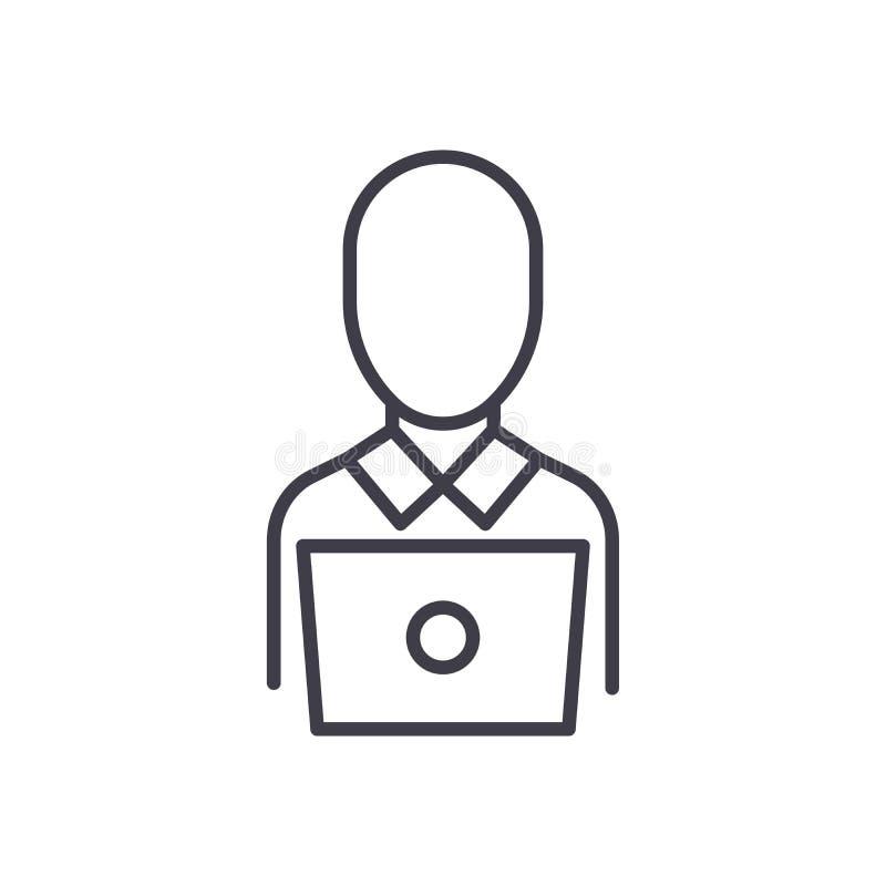 Concept à distance d'icône de noir de travailleur Symbole plat de vecteur de travailleur à distance, signe, illustration illustration libre de droits