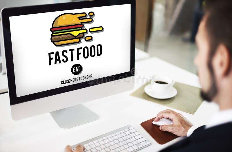 Concept à emporter de calories de repas d'ordure d'hamburger de prêt-à-manger images libres de droits
