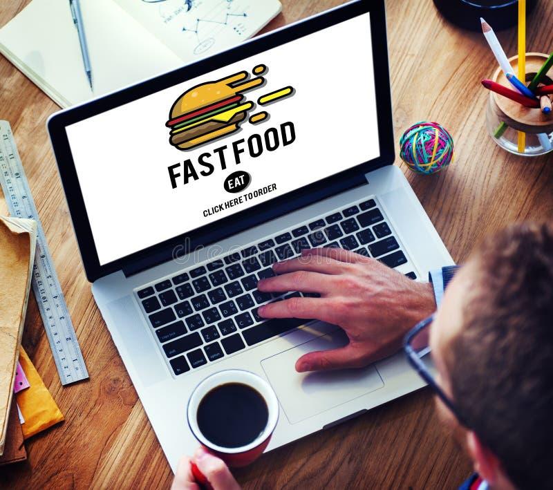 Concept à emporter de calories de repas d'ordure d'hamburger de prêt-à-manger photos libres de droits