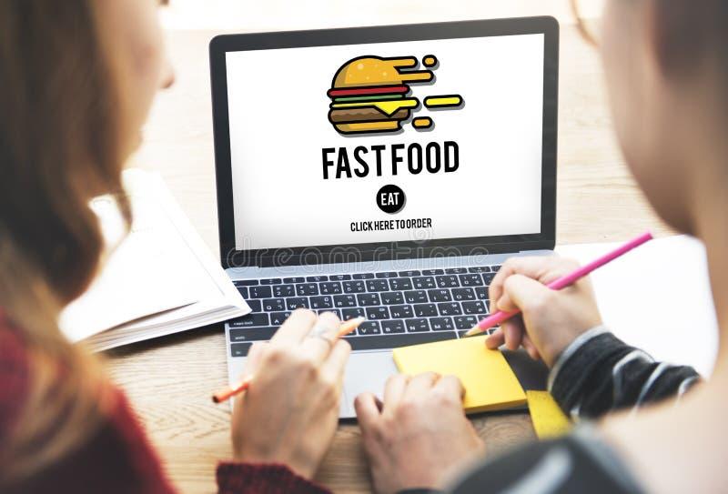 Concept à emporter de calories de repas d'ordure d'hamburger de prêt-à-manger images stock