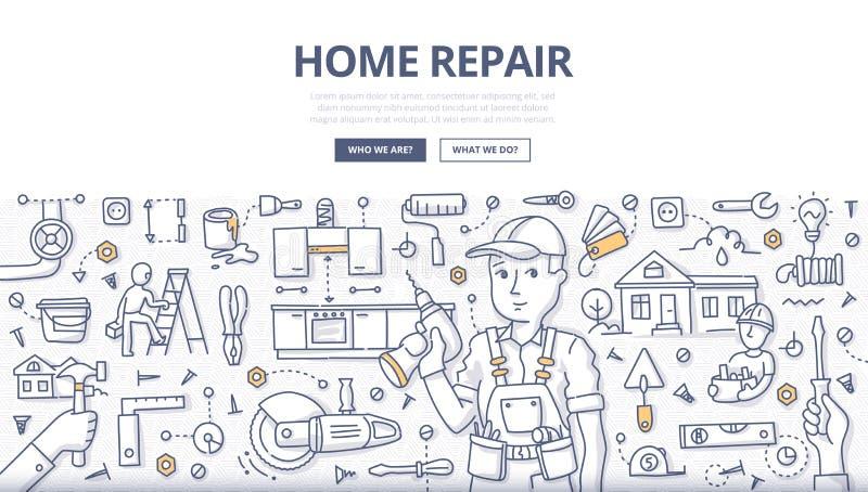 Concept à la maison de griffonnage de réparation illustration libre de droits