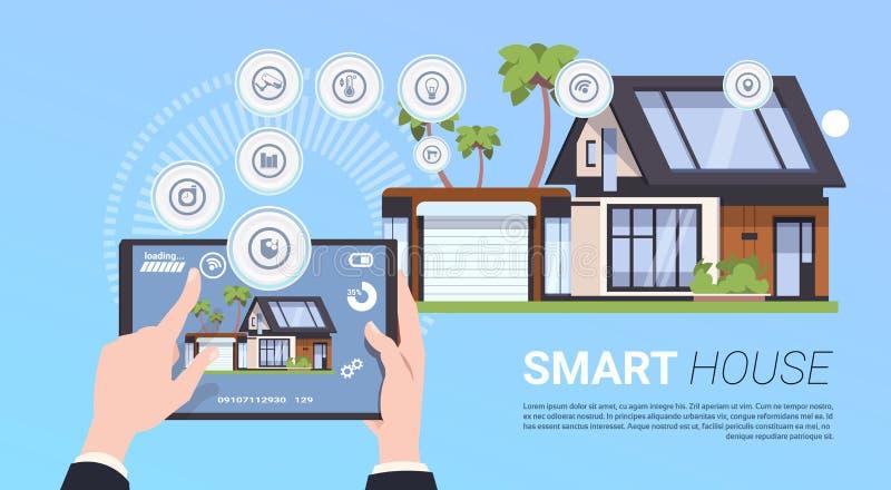 Concept à la maison futé de technologie avec des mains tenant le dispositif de Tablette avec l'interface de contrôle illustration stock