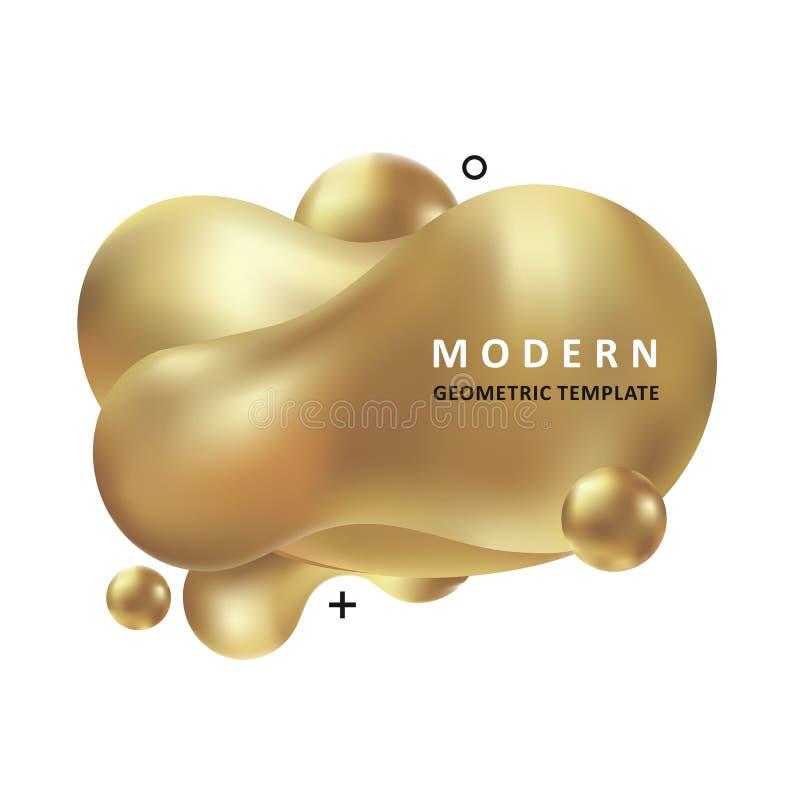 Concept à la mode d'or Conception d'amibe de mosa?que Ondes color?es abstraites Forme moderne de liquide de Memphis de vecteur illustration libre de droits