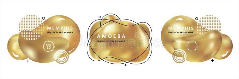 Concept à la mode d'or Conception d'amibe de mosa?que Ondes color?es abstraites Forme moderne de liquide de Memphis de vecteur illustration stock