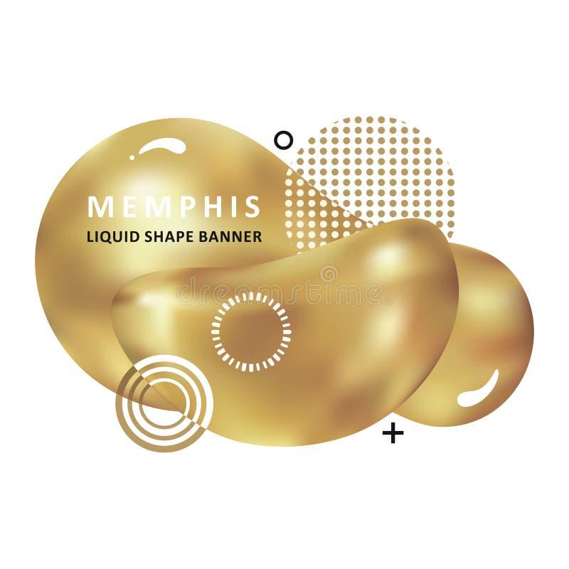 Concept à la mode d'or Conception d'amibe de mosa?que Ondes color?es abstraites Forme moderne de liquide de Memphis de vecteur illustration de vecteur