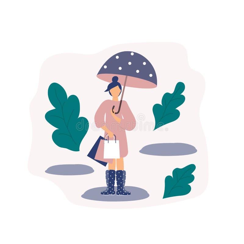 Concept à la mode des achats : fille dans les bottes imperméables avec des sacs en papier de magasin en temps pluvieux avec le pa illustration de vecteur