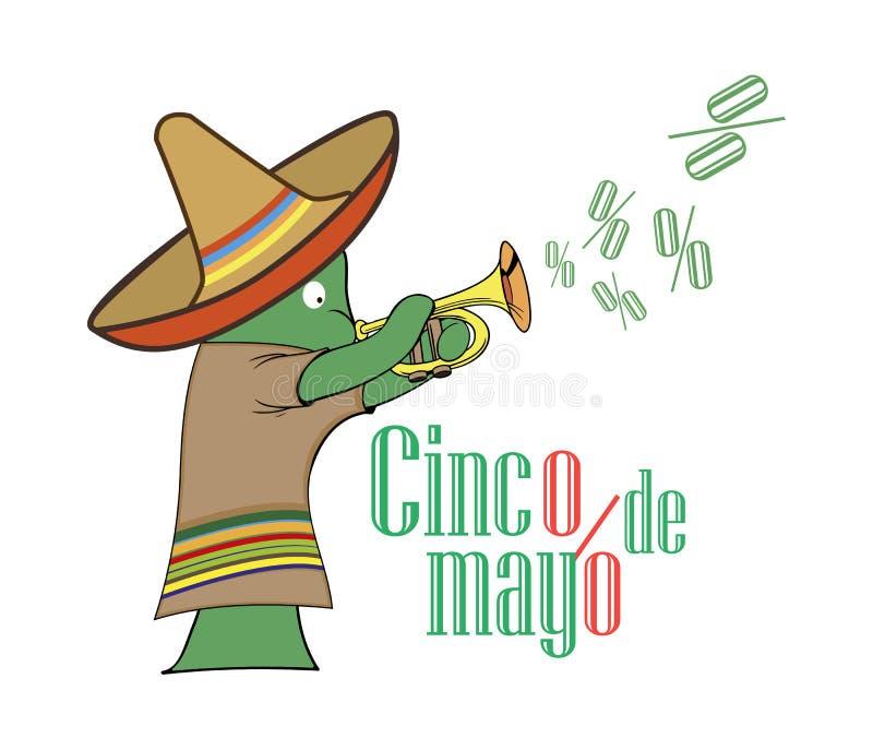 Concept à vendre chez Cinco de Mayo, cactus dans le sombrero jouant sur le tuyau illustration de vecteur
