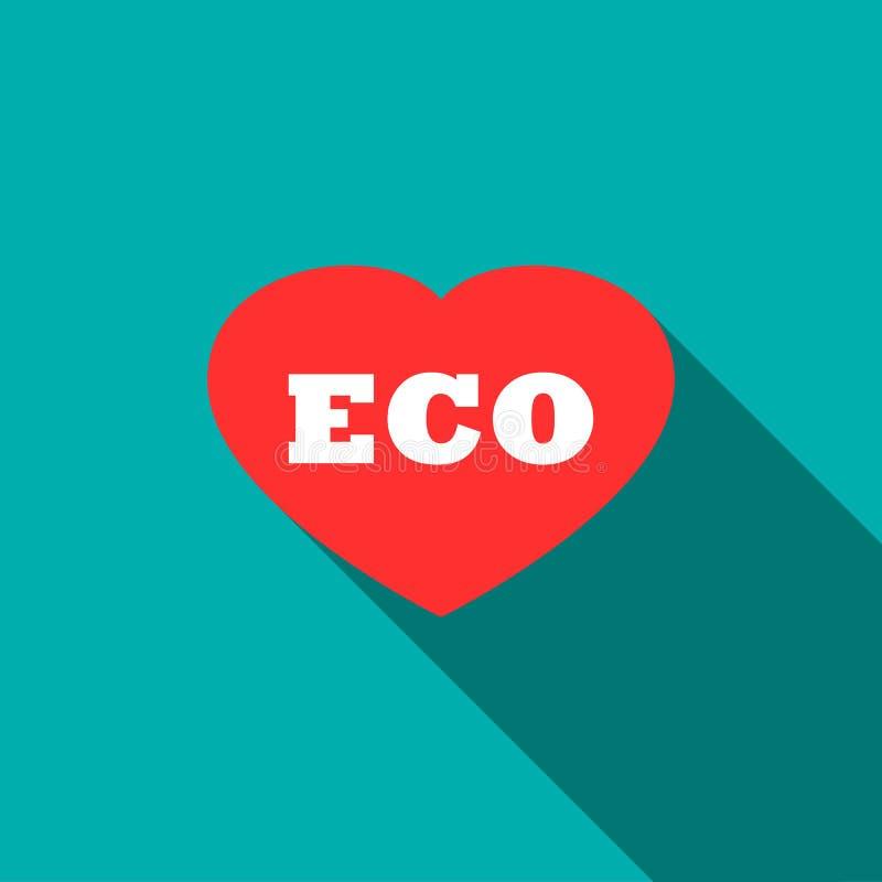 Concept écologique avec l'icône de coeur, style plat illustration stock
