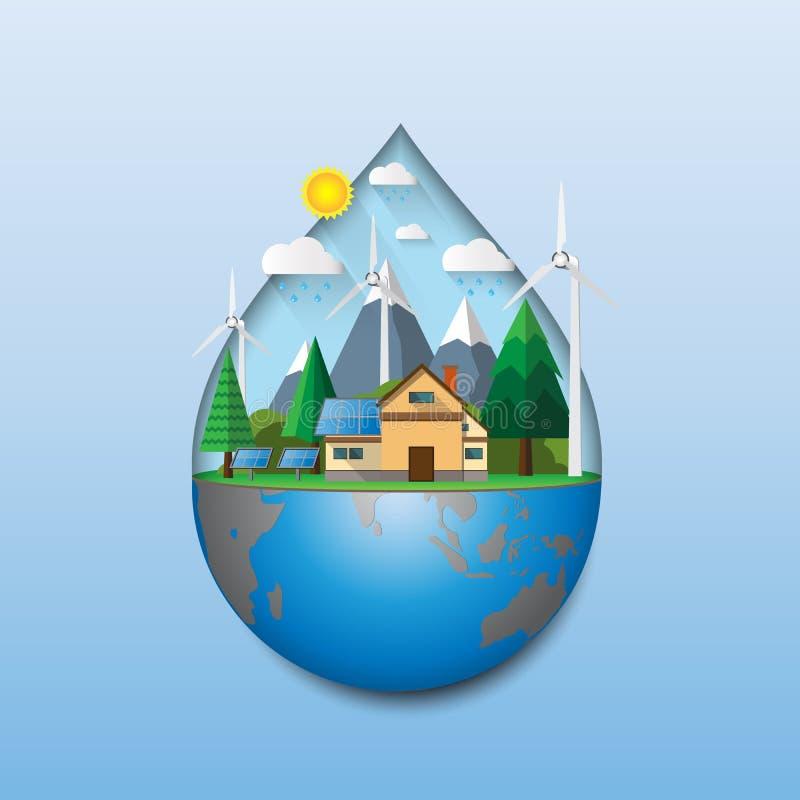 Concept écologique avec la forme de baisse de l'eau illustration stock