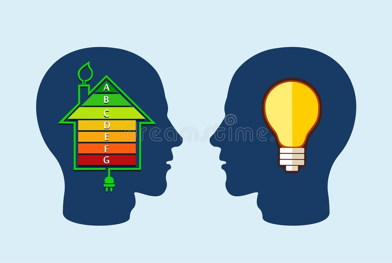 Concept écologique de rendement optimum de maison illustration de vecteur