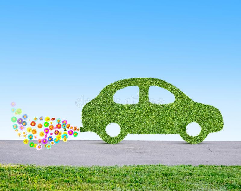 Concept écologique vert de voiture fait en herbe illustration libre de droits