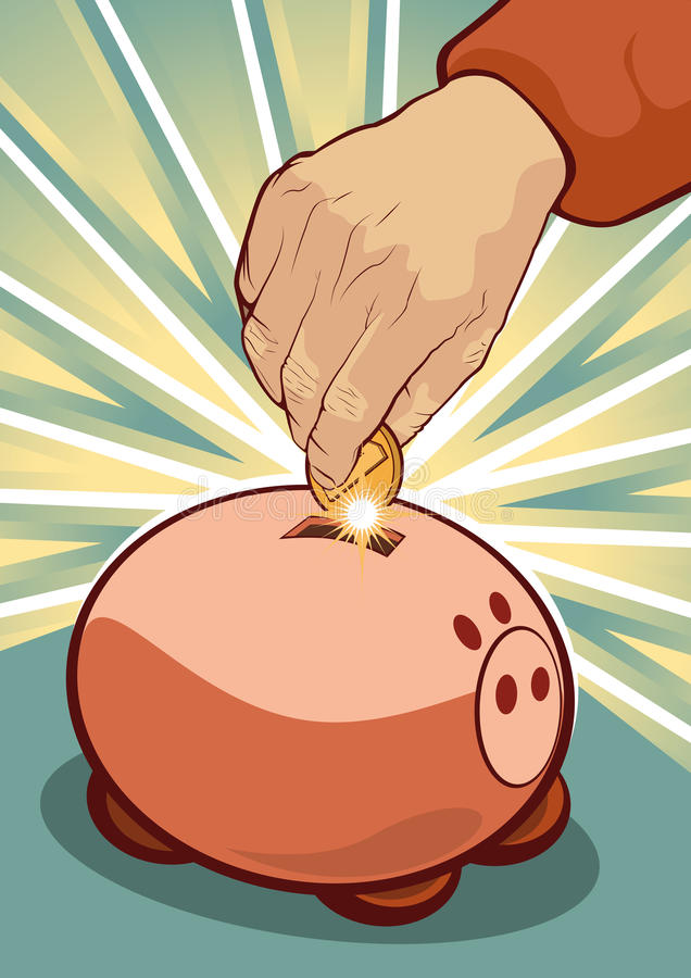 Concept économe - main mettant la pièce de monnaie à la tirelire illustration libre de droits