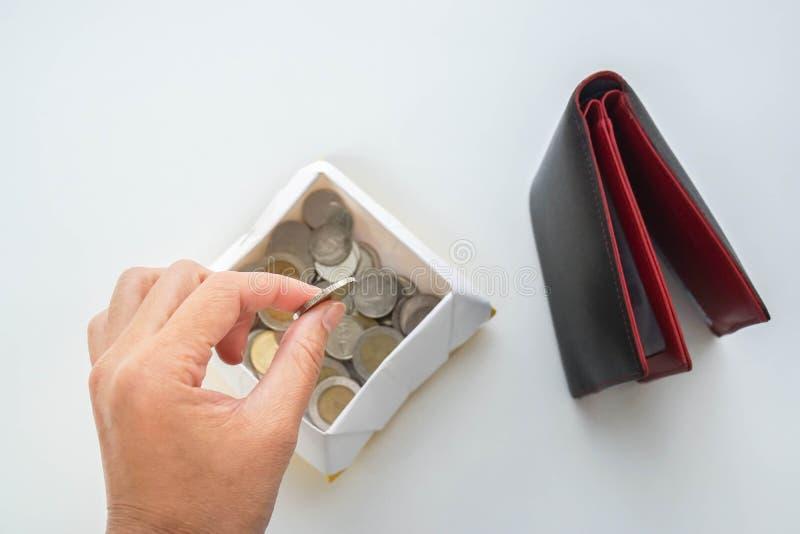 Concept économisant d'argent - la femme a mis la pièce de monnaie du portefeuille dans une boîte photo libre de droits