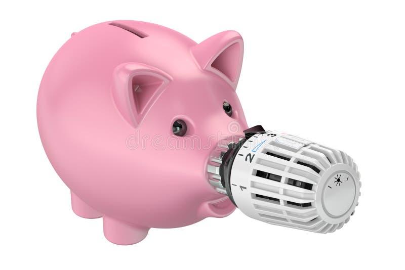 Concept économiseur d'énergie, tirelire avec le radiateur thermostatique illustration de vecteur