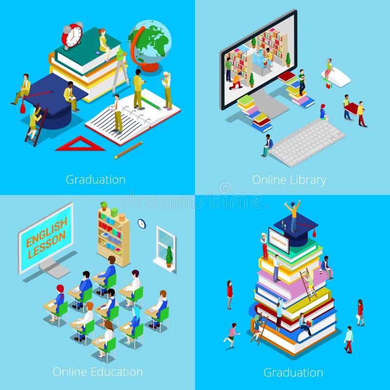 Concept éducatif isométrique Éducation en ligne, bibliothèque en ligne, obtention du diplôme avec le chapeau et étudiants illustration stock