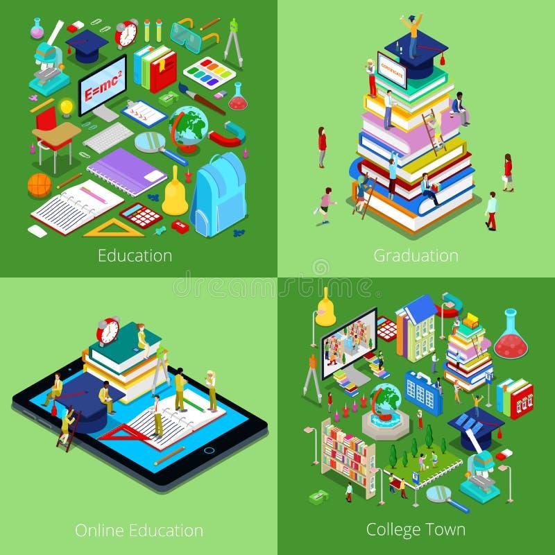 Concept éducatif isométrique Éducation en ligne, ville d'université, obtention du diplôme avec le chapeau et étudiants illustration libre de droits