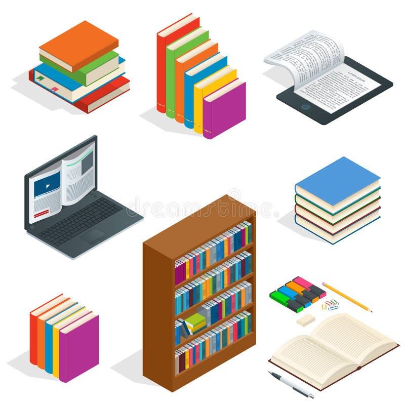 Concept éducatif isométrique Le livre de la connaissance ouvert, de nouveau à l'école, différents approvisionnements éducatifs pe illustration libre de droits