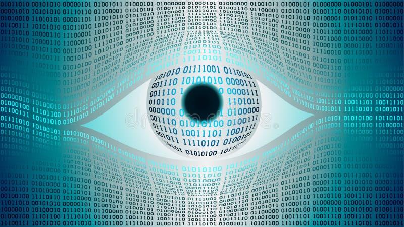 Concept électronique d'oeil de frère, technologies pour la surveillance globale, degré de sécurité des systèmes informatiques et  illustration libre de droits