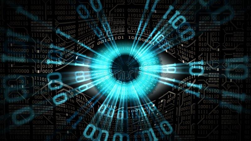 Concept électronique d'oeil de frère, technologies pour la surveillance globale, degré de sécurité d'ordinateur et réseaux illustration stock