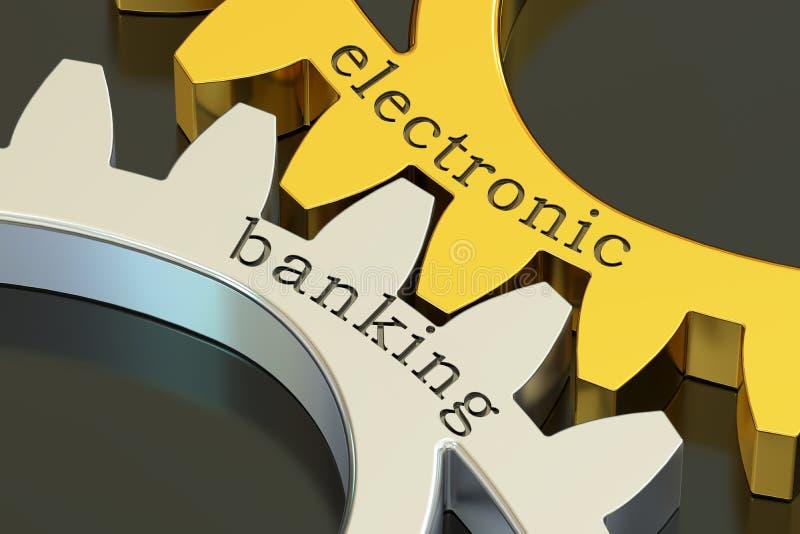 Concept électronique d'opérations bancaires sur les roues dentées, rendu 3D illustration libre de droits