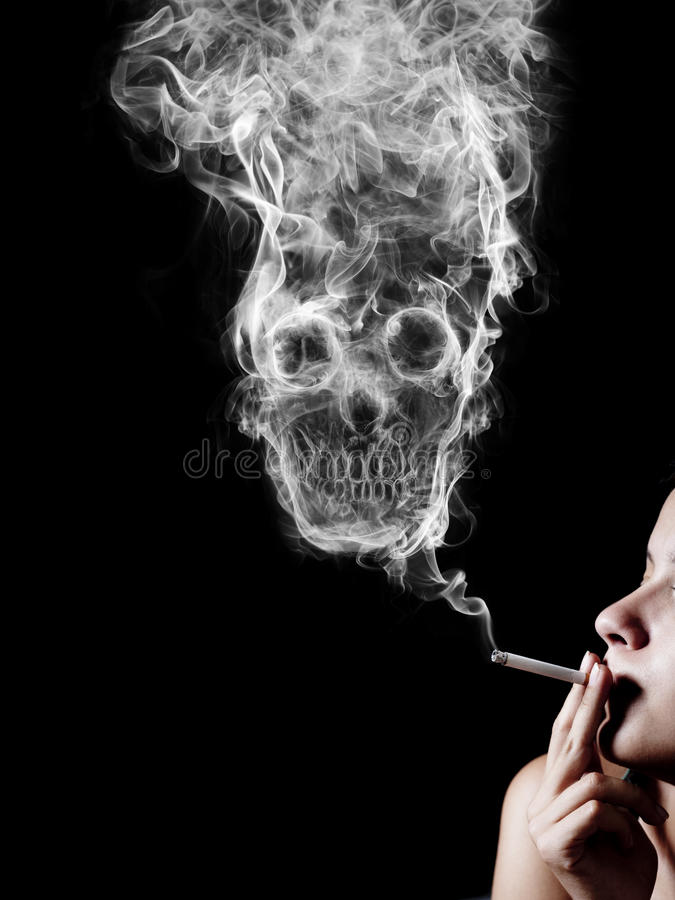 The concept. Woman smoking a cigarette. Of smoke formed skull dead, as a symbol of the dangers of smoking to health and imminent death of people. The concept royalty free illustration