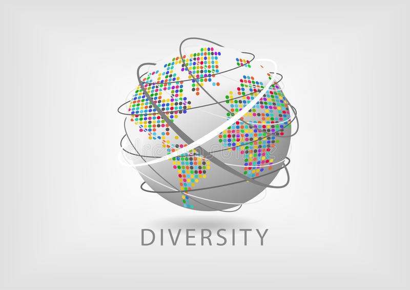 Concept aantal arbeidskrachtendiversiteit rond de wereld vector illustratie