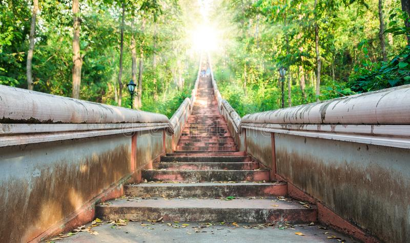 Concept abstract background, Flare sun light of hope at the end of stairs to heaven stock images