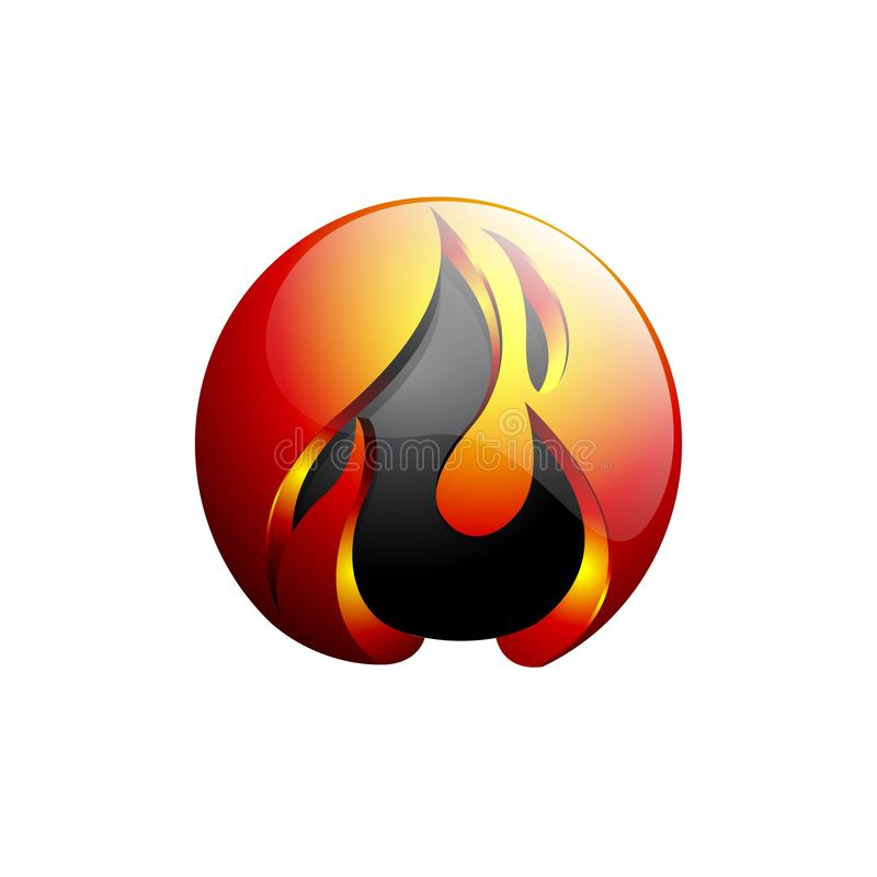 Concept abstract design flame fire ball logo template in orange and gray stock illustration