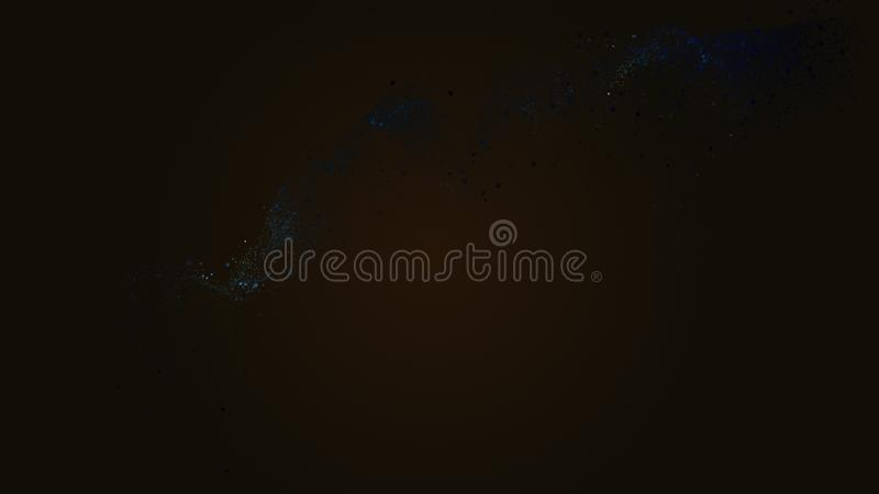 Smooth luxury techno blue stream slowly flow on black background. Copy space. Concept abstract techno blue fluid on blurred golden backdrop. Abstract background vector illustration
