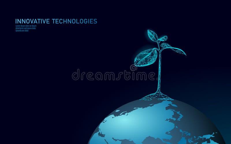 Concept abstrait écologique de pousse d'usine 3D rendent des feuilles d'arbre de jeune plante Environnement de sauvegarde de natu illustration libre de droits