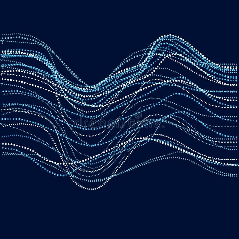 Concept abstrait d'eau de rivière rangée émise dynamique de particules illustration de vecteur