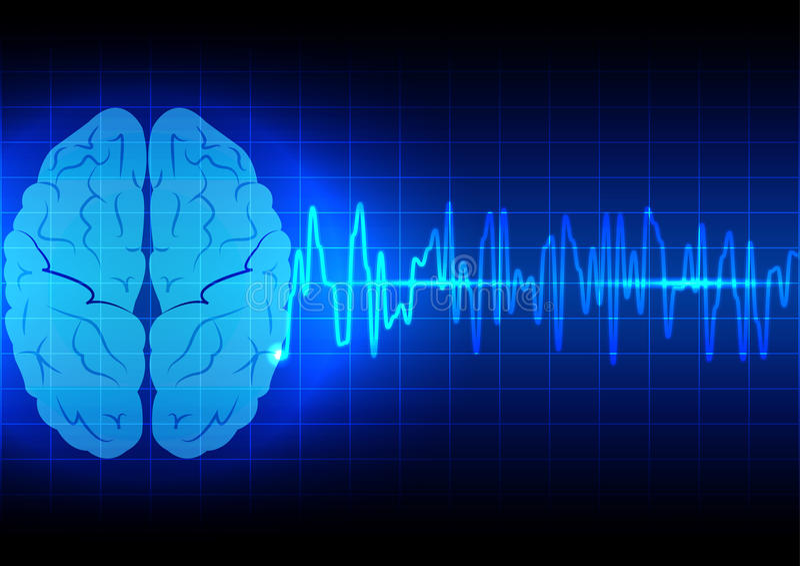 Concept abstrait d'onde cérébrale sur la technologie bleue de fond illustration libre de droits