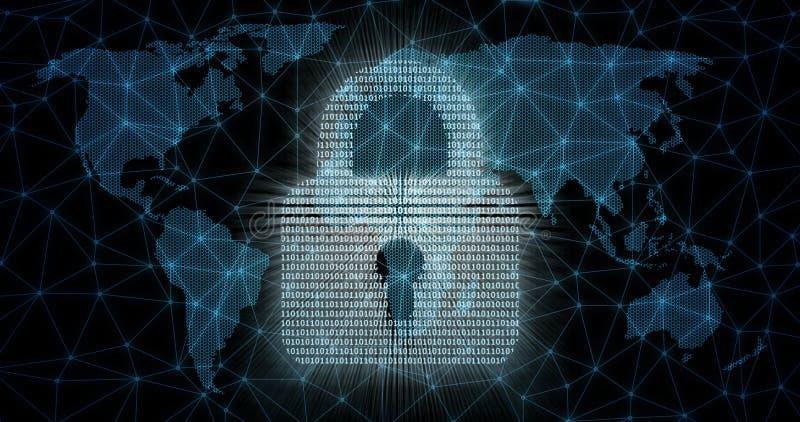 Concept abstrait de sécurité globale d'Internet illustration de vecteur