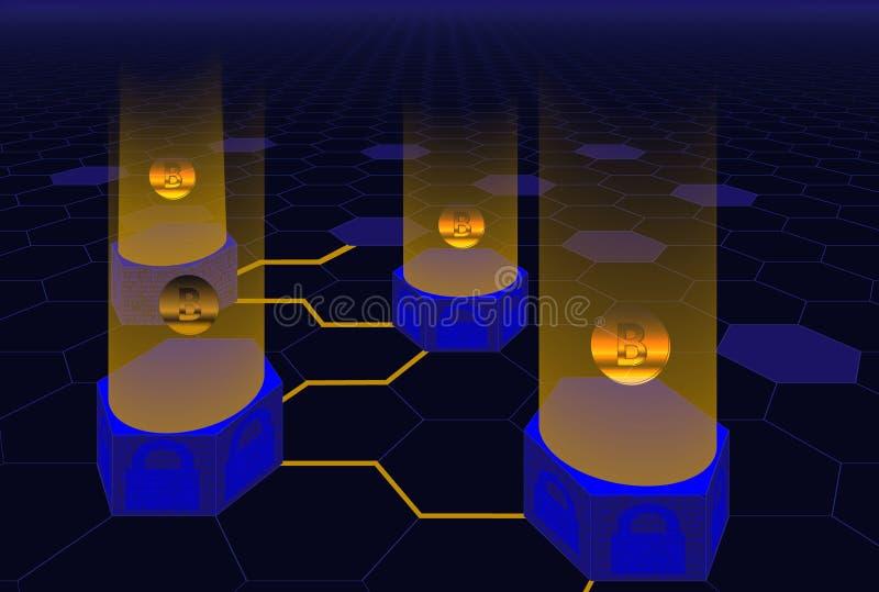 Concept abstrait de technologie de blockchain Connexion numérique isométrique de blocs des données illustration stock