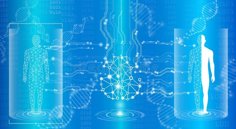 Concept abstrait de technologie de fond dans la lumière, le cerveau et le h bleus illustration de vecteur