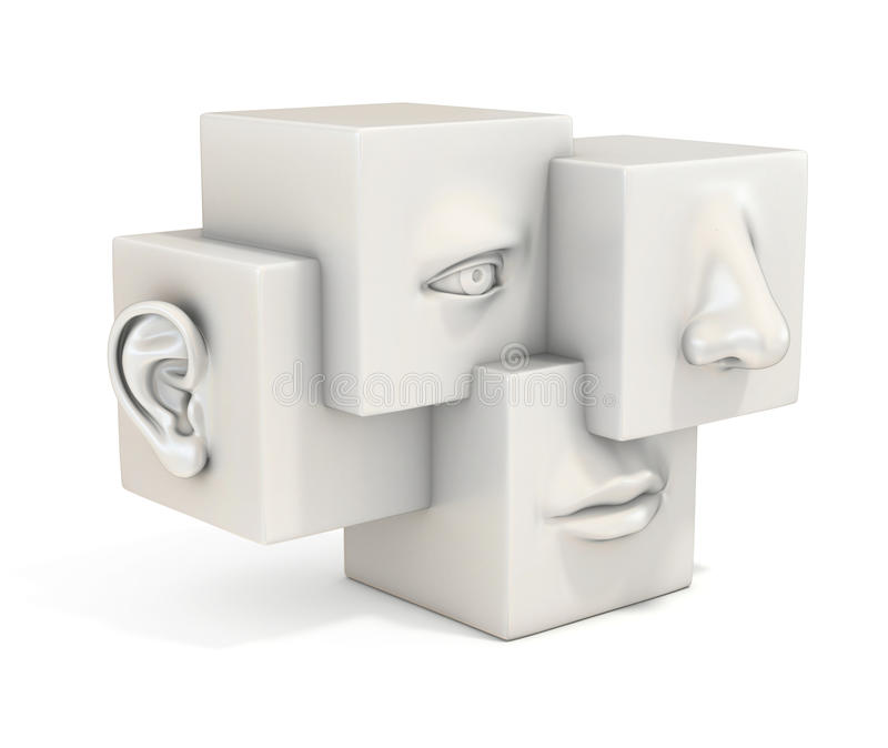 Concept abstrait du visage humain 3d illustration libre de droits