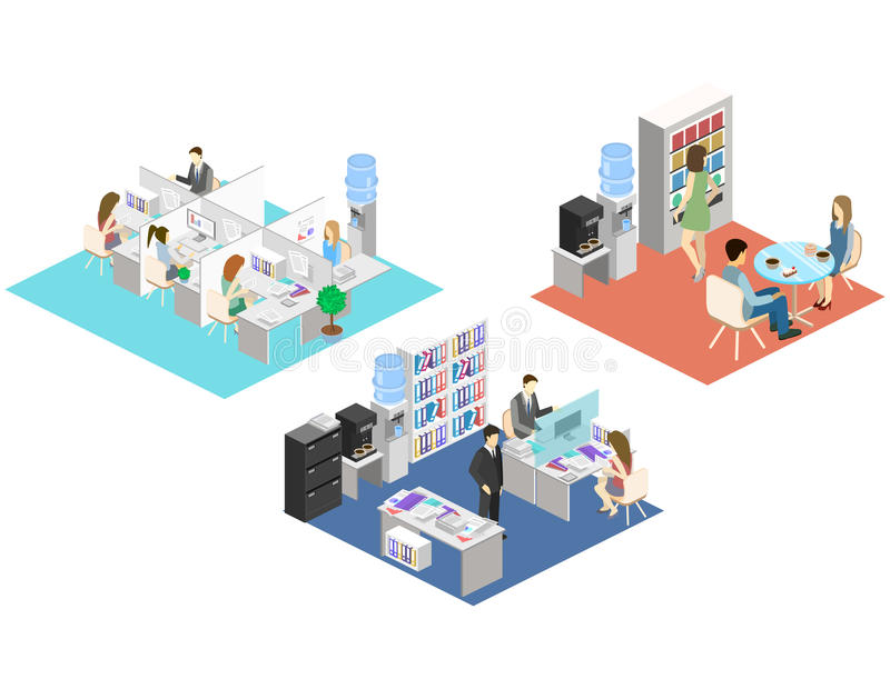 Concept abstrait isométrique plat de Départements de l'intérieur de plancher du bureau 3d Les gens travaillant dans les bureaux illustration libre de droits