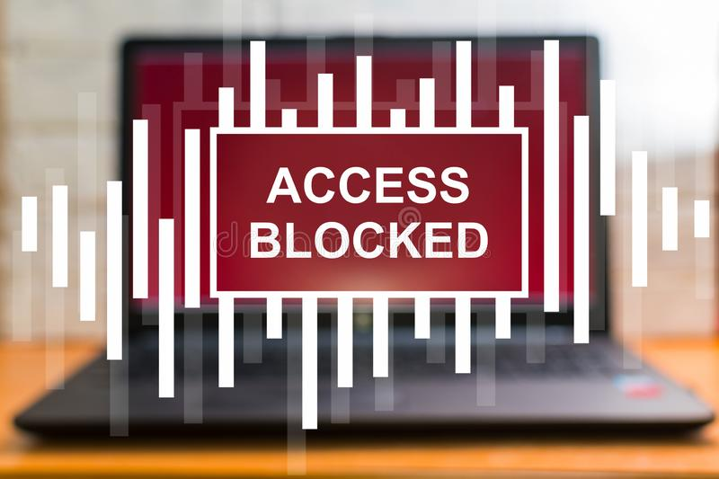 Concept. access is denied. Loptop stock photo