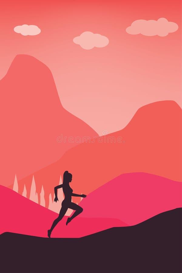 Concept actif de mode de vie - femmes courantes dans le calibre de vecteur de couleur de pastel de nature images stock
