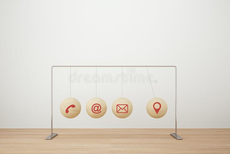 Concept for action plan and reaction or cause and result in business..with icon business strategy of newton`s Cradle. royalty free stock image