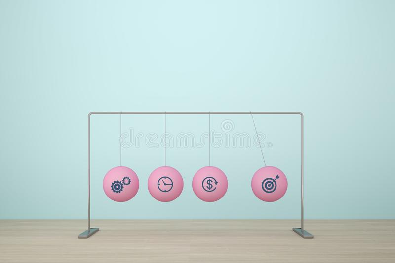 Concept for action plan and reaction or cause and result in business..with icon business strategy of newton`s Cradle.  royalty free stock photography