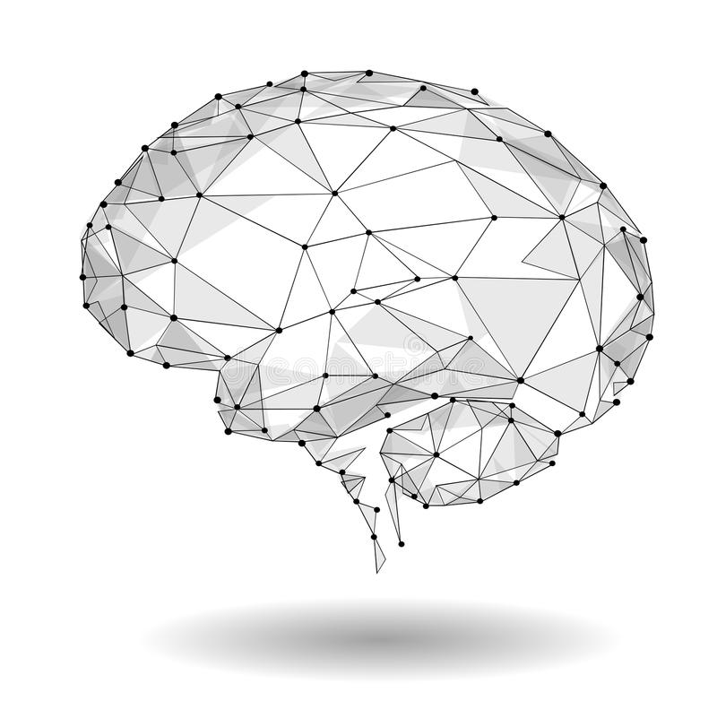 Concept of Active Human Brain with Binary Code Stream. Human Brain Covered with fall of Binary Numbers. Technology Low Poly Design royalty free illustration