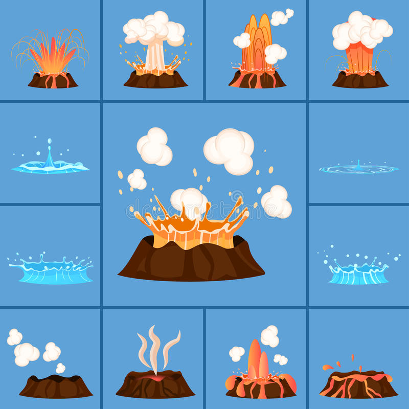 Concept of Active Volcano and Geyser in Action royalty free illustration
