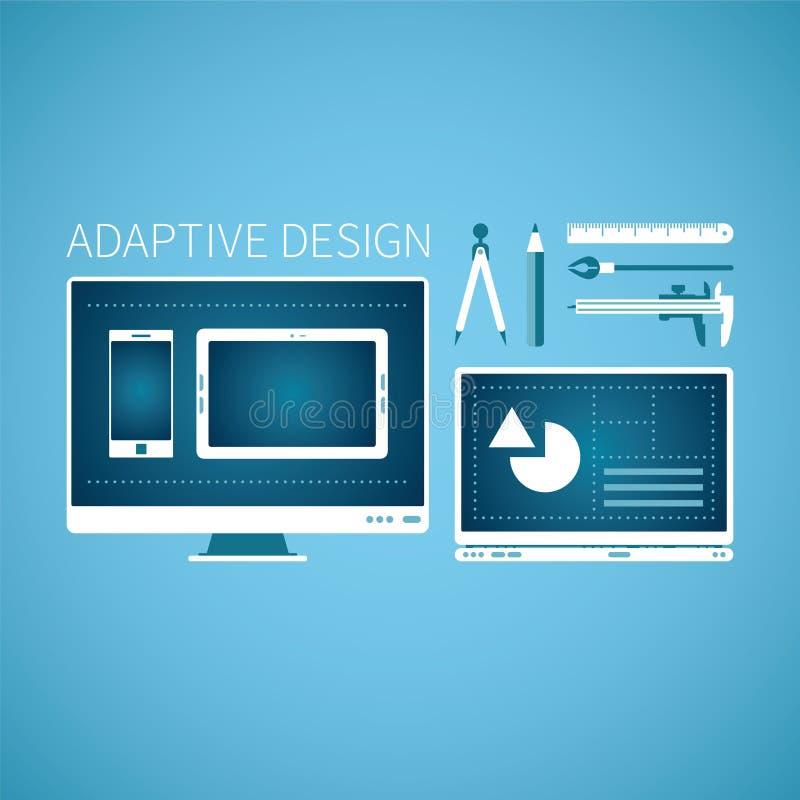 Concept adaptatif de vecteur de développement de conception graphique de Web dans le style plat illustration de vecteur