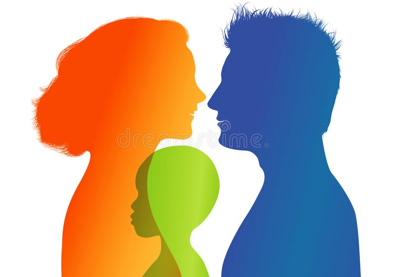 Young parents adopt an African or African American child. Adoption. Vector color profile silhouette. Concept of adoption with parents and child. Profiles vector illustration