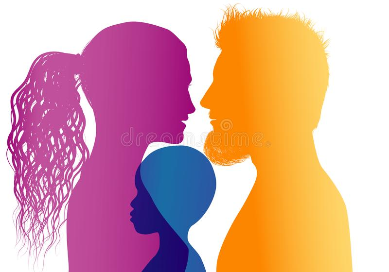 Young mom and dad adopt an African or African American child. Vector color profile silhouette. Concept of adoption with parents and child. Profiles silhouettes vector illustration