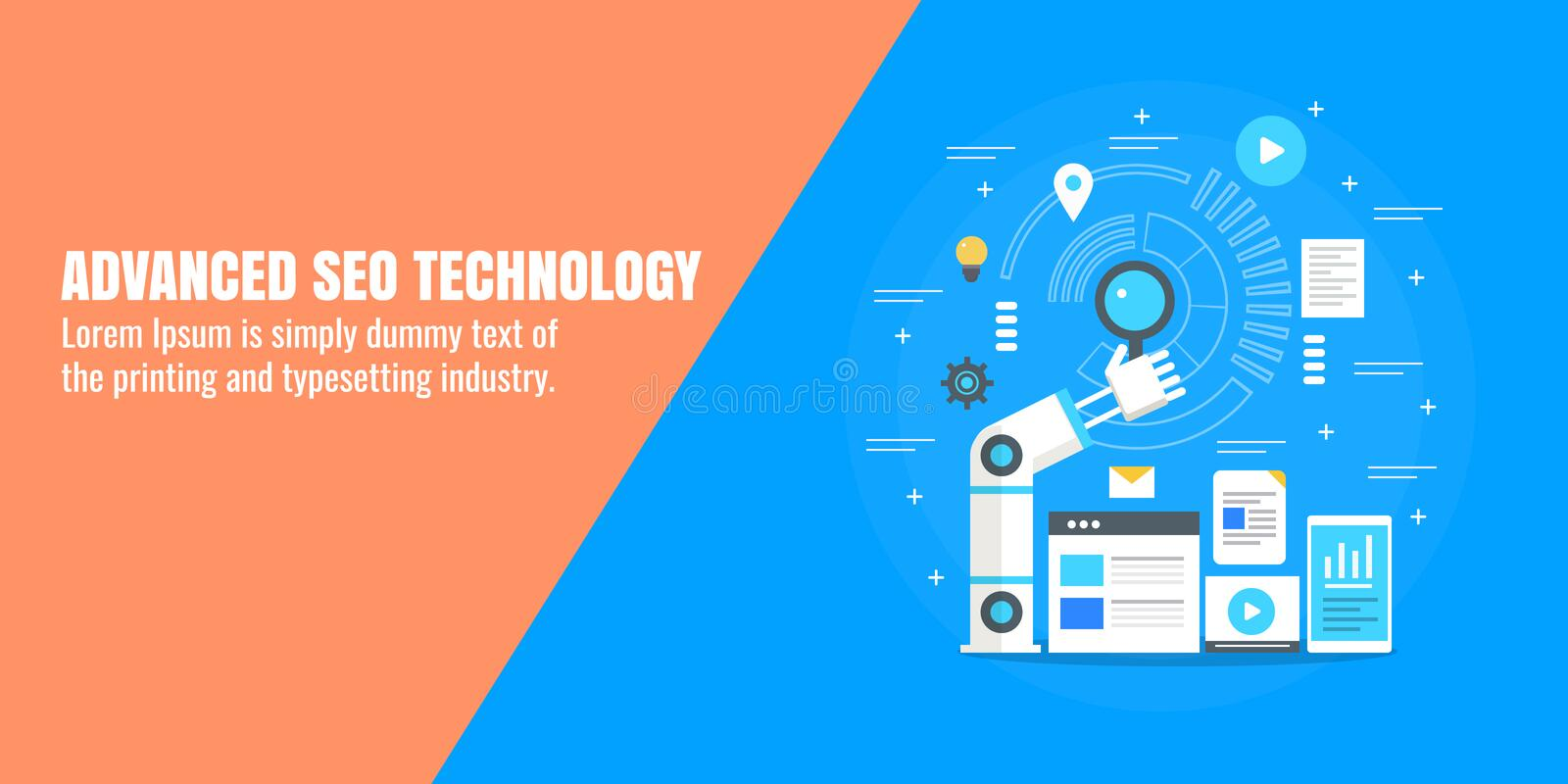 Seo optimization, digital marketing automation, business technology, robot hand, search concept. Flat design vector banner. Concept of advance seo technology royalty free illustration