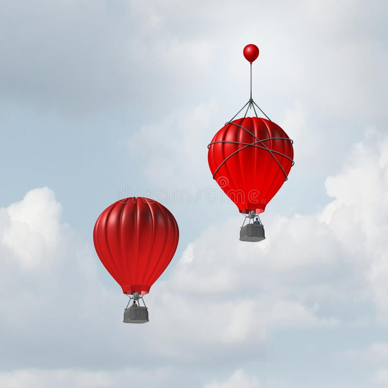 Concept Of Advantage. And competitive edge as two hot air balloons racing to the top but a leader with a small balloon attached giving the winning competitor an stock illustration